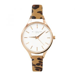 Leopard Watch Camel-Rose goud