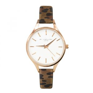 Leopard Watch Brown-Rose goud