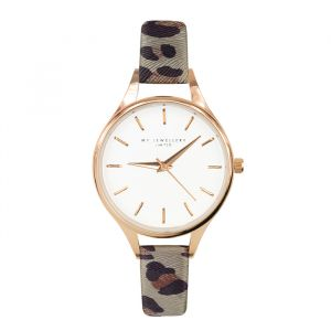 Leopard Watch Grey-Rose goud