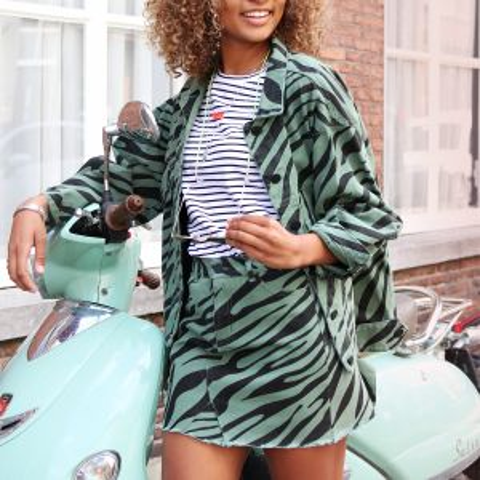 Groene spijkerrok zebraprint