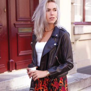 Zwarte biker jas leatherlook