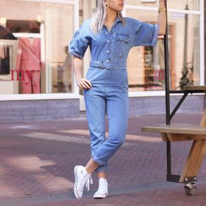 Denim jumpsuit korte mouw