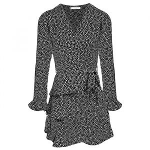 Black Longsleeve Dotted Layer Dress-XS