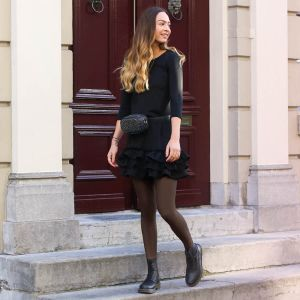 Black Basic Ruffle Dress 3/4 Sleeve