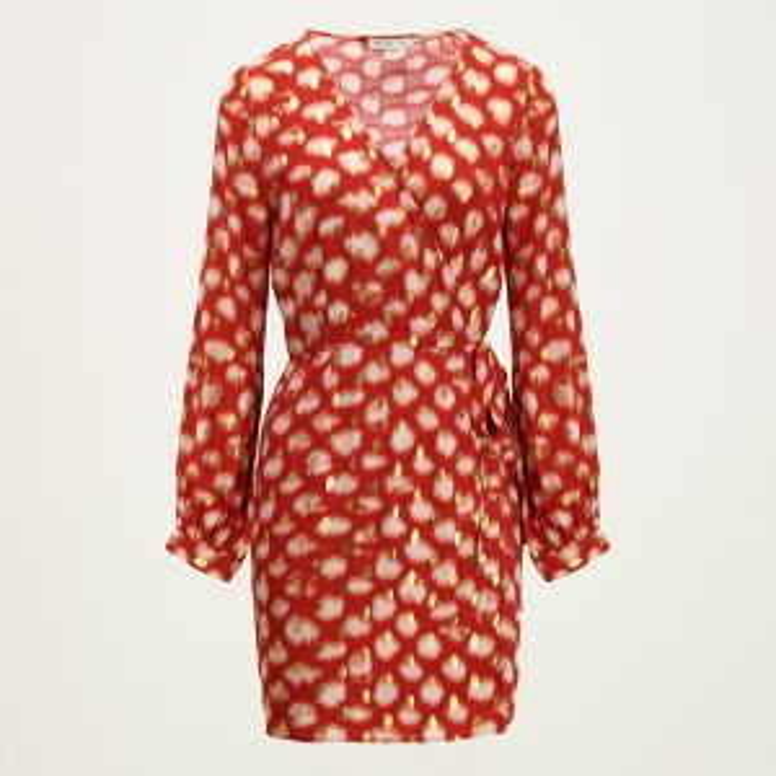 Rode wikkeljurk tie dye print -XS