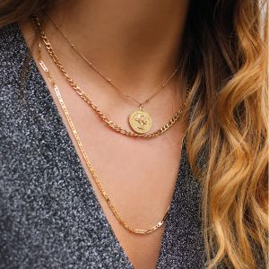 Flat Chain Basic Necklace Short