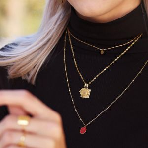 Red Enamel Necklace Coins