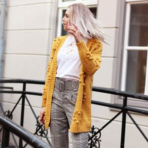 Mustard Long Cardigan with Dots