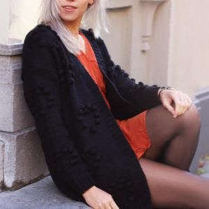 Black Long Cardigan with Dots