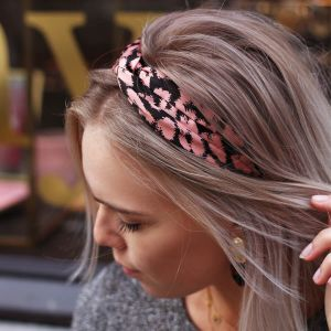 Light Pink Satin Leopard Headband
