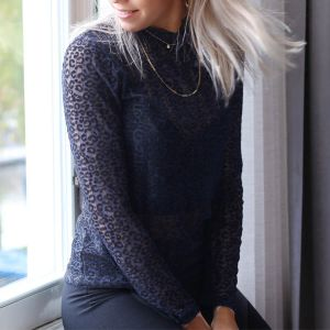 Navy Leopard Lace Top