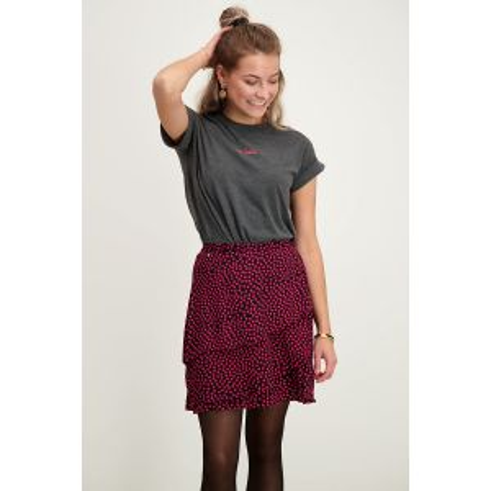 Zwarte rok roze stippen & laagjes