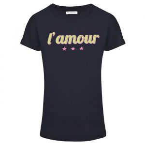 T-shirt quote oui blauw tekst basic, Tops