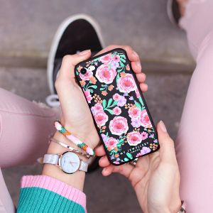 Pink Flowers iPhone case - Black