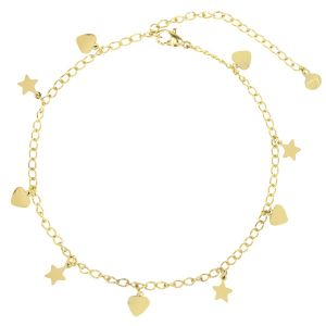 Stars & Hearts anklet-Goud