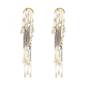 Beads Statement Earrings -Wit