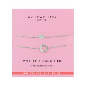 Mother & Daughter Bracelet Heart -Zilver