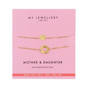 Mother & Daughter Bracelet Heart -Goud
