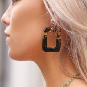 Square earrings - Black/Leopard