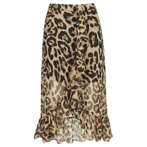 Lange rok leopard ruffles bruin, Rokjes