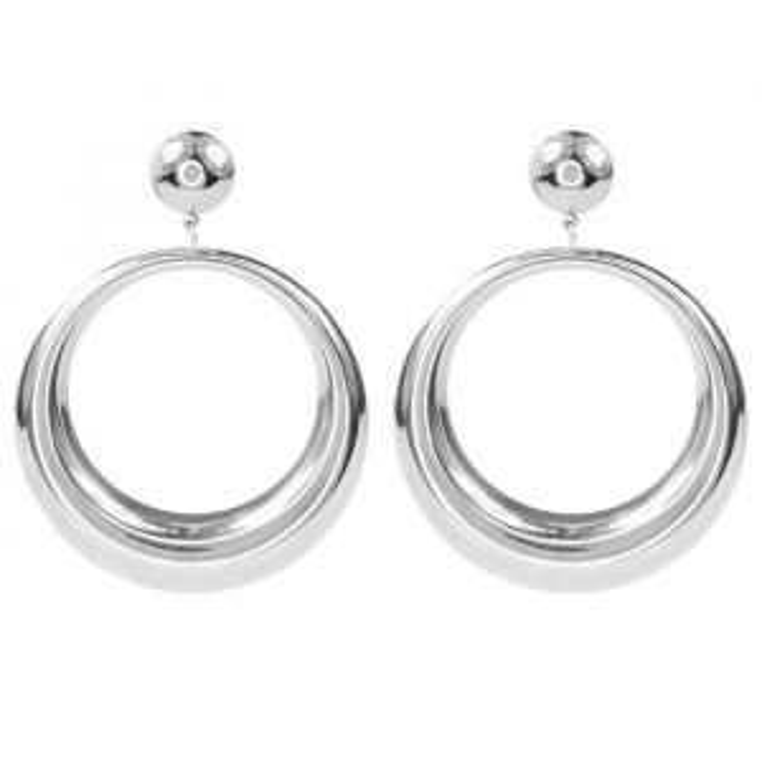 Oorhangers open ring groot - Zilver