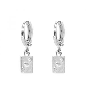 Charm Earring Pair Of Aces - Gold/Silver-Zilver