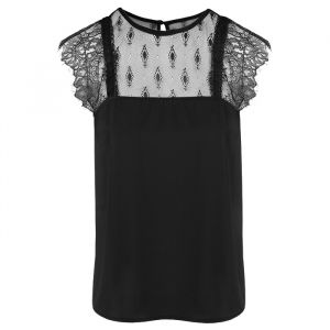Lace Shirt - Black-S