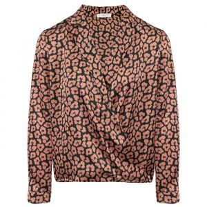 Zwart roze satijnen top, Top met print