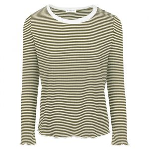 Long Sleeve Stripe Top - Dark Green -S