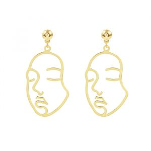 Lined Face Earrings-Goud