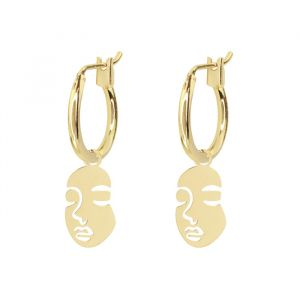 Face earrings-Goud