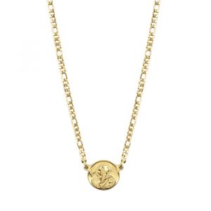 Flat Chain Coin Necklace-Goud
