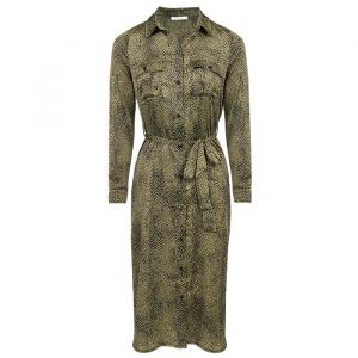 Satijnen jurk met groene stippen, lange jurk