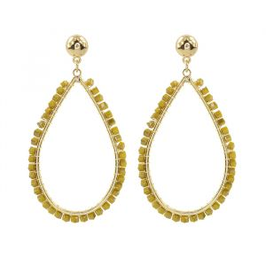 Yellow Crystal Teardrop Earring