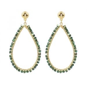 Crystal Teardrop Earring Green-Goud