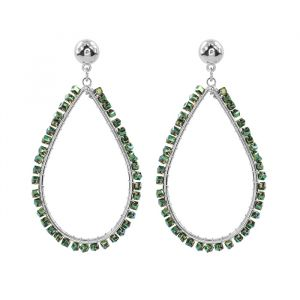 Crystal Teardrop Earring Green-Zilver