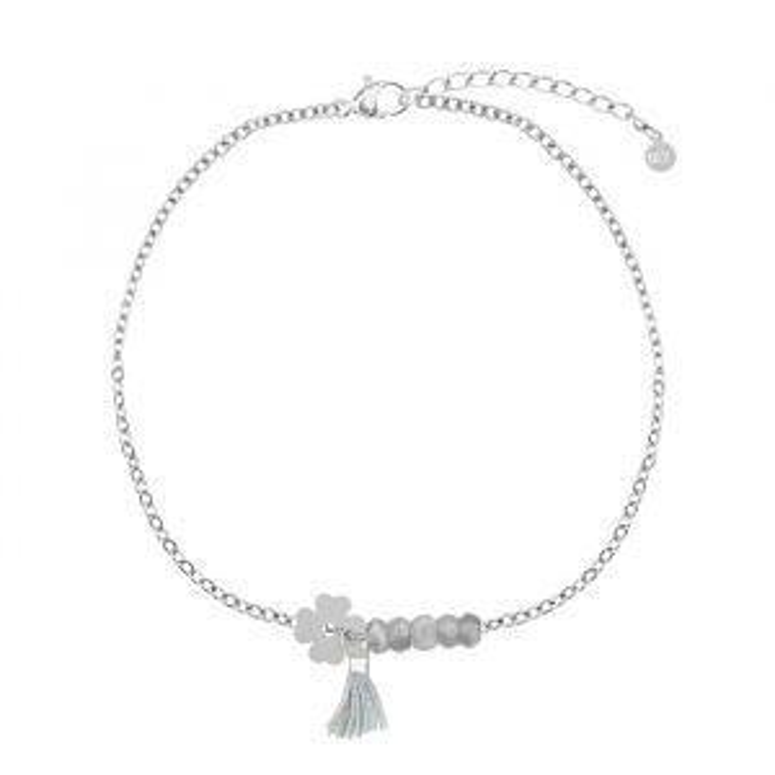 Grijze klaver armband-Zilver