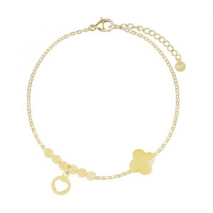Gele fijne armband kralen & klaver -Goud kleurig