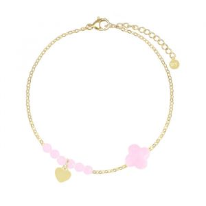 Licht roze fijne armband kralen & klaver-Goud kleurig