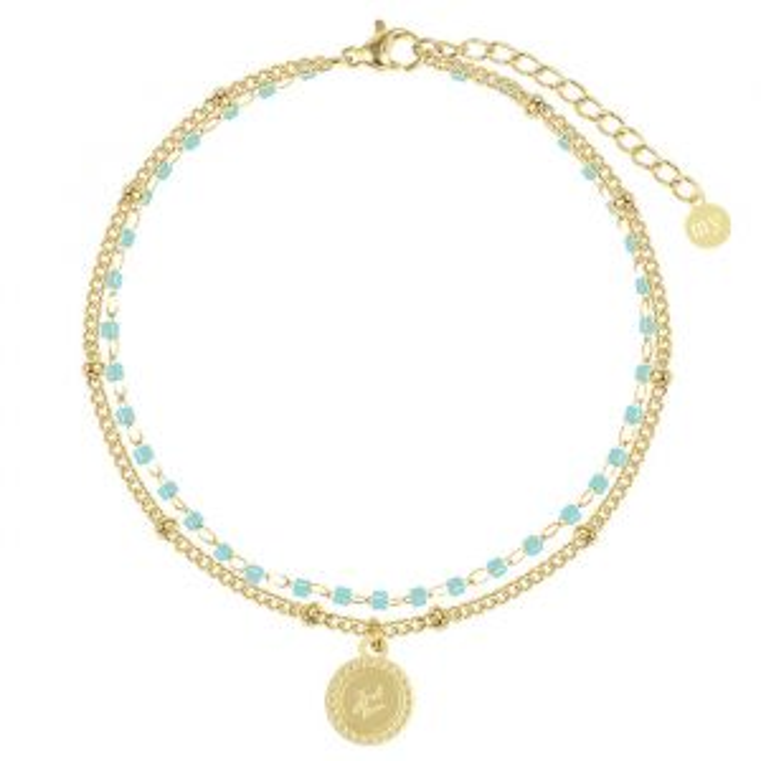Turquoise dubbele armband Love-Goud
