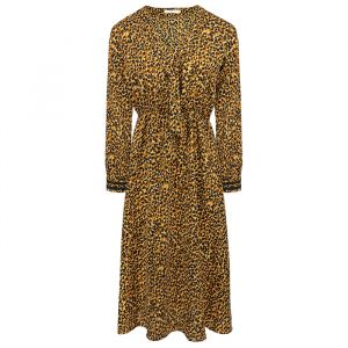 Bruine midi jurk luipaard print, dierenprint jurk My Jewellery