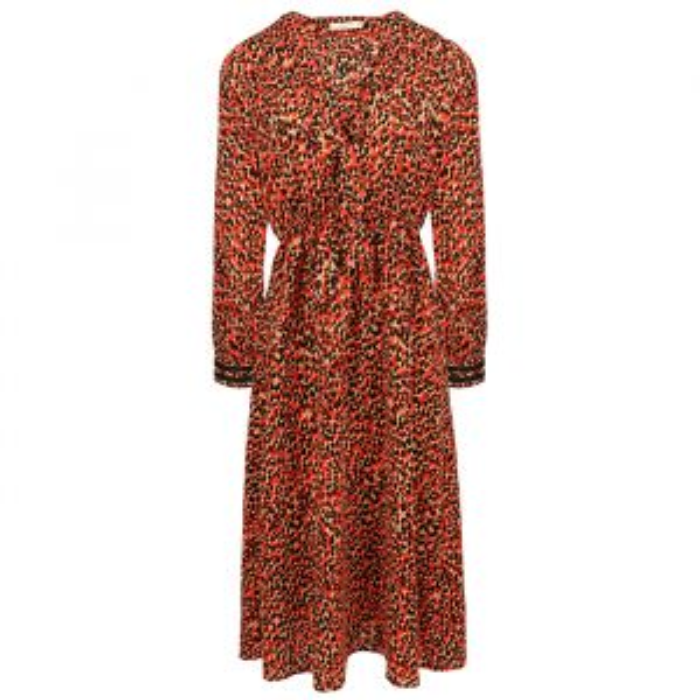 Rode midi jurk luipaard print-XS