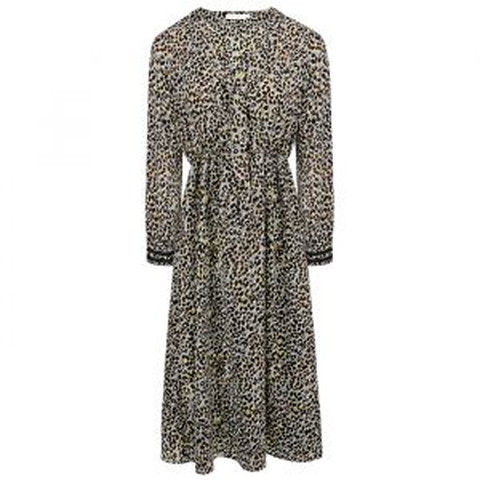 Grijze midi jurk luipaard print-XS