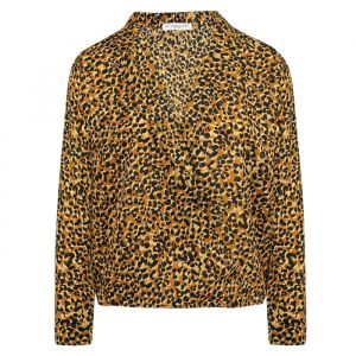 Bruine overslag blouse luipaard-XS
