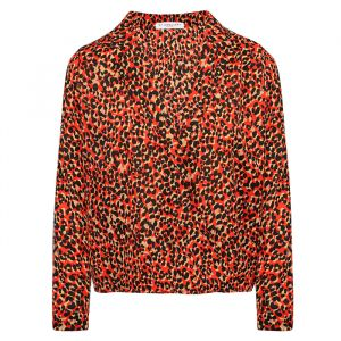 Rode overslag blouse luipaard, blouse met print My Jewellery