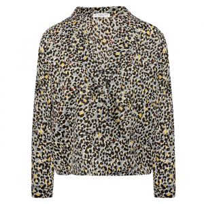 Grijze overslag blouse luipaard-XS