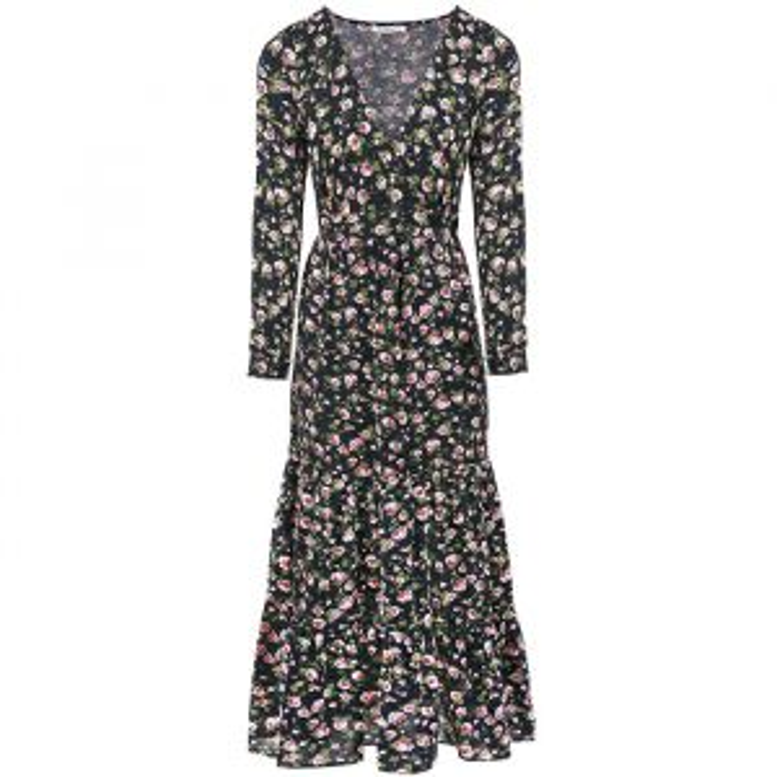 Donkerblauwe lange jurk bloemen-S-M