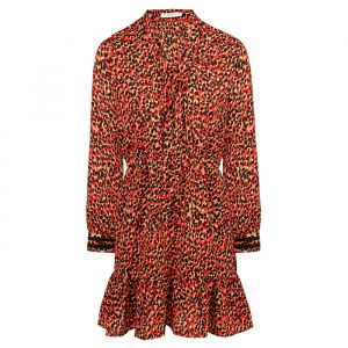 Rode korte jurk luipaard print-XS