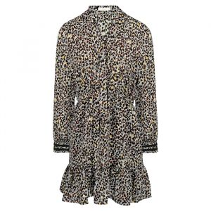 Grijze korte jurk luipaard print-XS