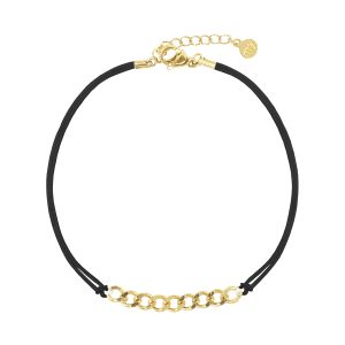 Zwart koord armbandje schakels, zwart koord armbandje  My Jewellery